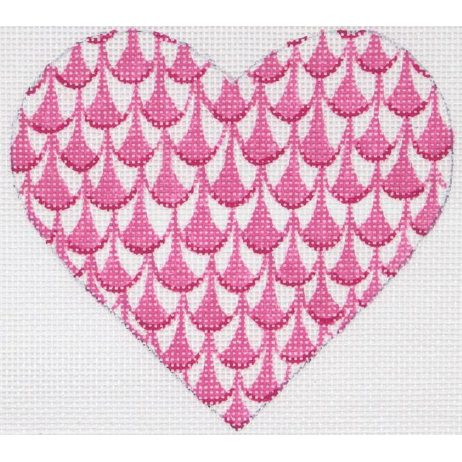 Herend Pink Heart Needlepoint Canvas - needlepoint