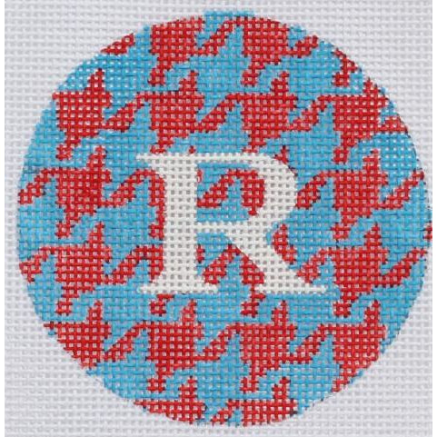 "Red and Blue Houndstooth 3"" Round Canvas-Needlepoint Canvas-Kate Dickerson-KC Needlepoint"
