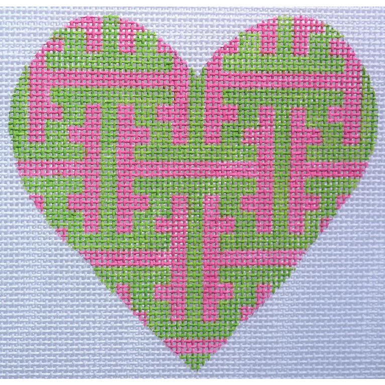 Pink and Green Lattice Heart Canvas-Needlepoint Canvas-Kate Dickerson-18 mesh-KC Needlepoint