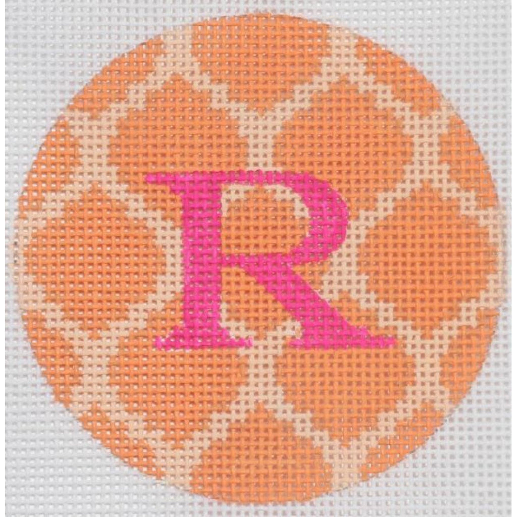 "Orange and Pink 3"" Round Canvas - needlepoint"