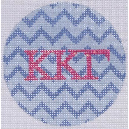 "KKG Chevron 3"" Round Canvas - needlepoint"