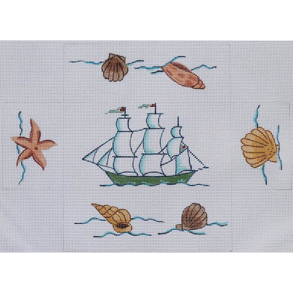 Clipper Ship with Shells Brick Cover Canvas - needlepoint