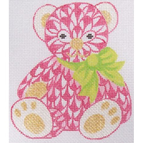 Herend Pink Bear Needlepoint Canvas