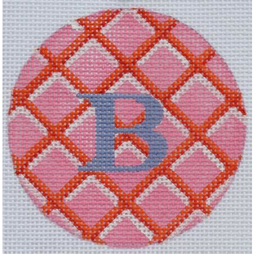 "Pink Diamonds 3"" Round Canvas - needlepoint"