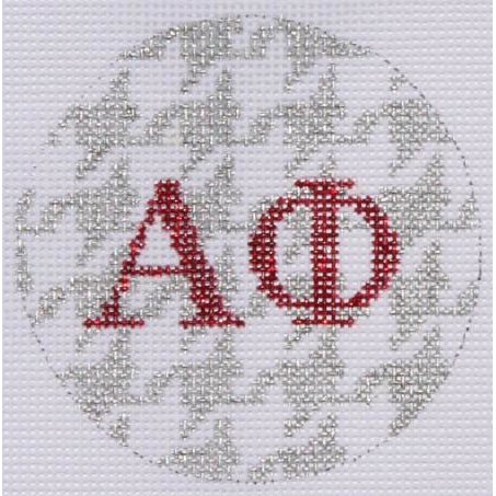 "Alpha Phi 3"" Round Canvas - needlepoint"