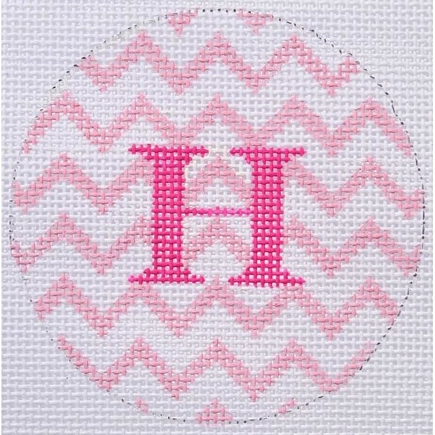 "Pink & White Zigzag 3"" Round Canvas-Needlepoint Canvas-Kate Dickerson-18 mesh-blank-KC Needlepoint"