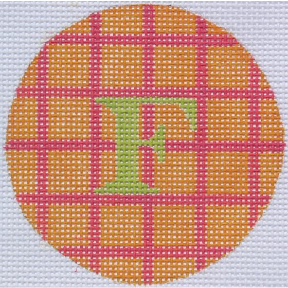"Orange and Pink Squares 3"" Round Canvas-Needlepoint Canvas-Kate Dickerson-18 mesh-blank-KC Needlepoint"