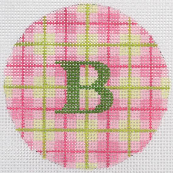 "Pink and Green Plaid 3"" Round Canvas - needlepoint"