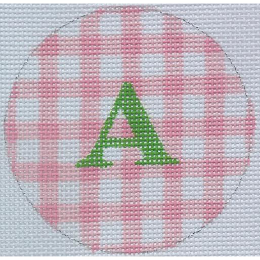 "Pink Gingham 3"" Round Canvas - needlepoint"