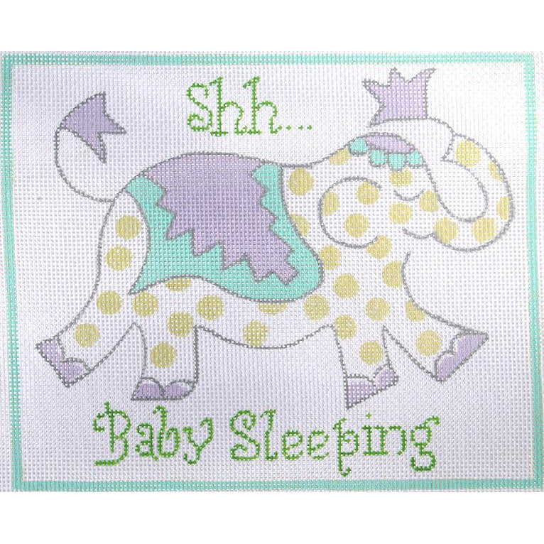 Shh.. Baby Sleeping Elephant Canvas-Needlepoint Canvas-Kate Dickerson-KC Needlepoint
