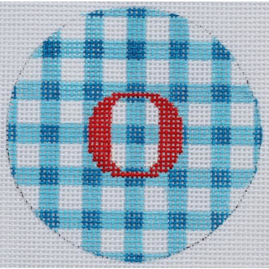 "Blue & White Gingham 3"" Round Canvas - needlepoint"