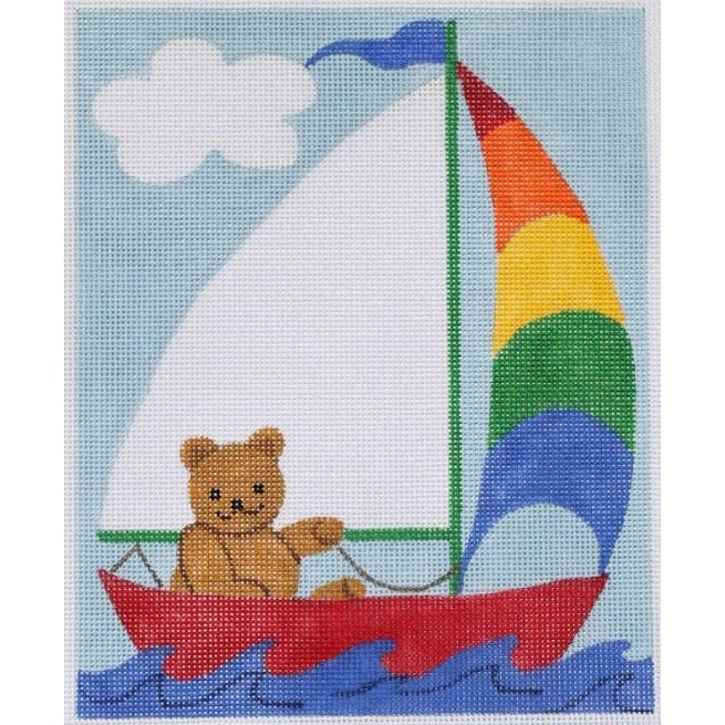 Sailing Teddy Needlepoint Canvas-Needlepoint Canvas-Kate Dickerson-KC Needlepoint