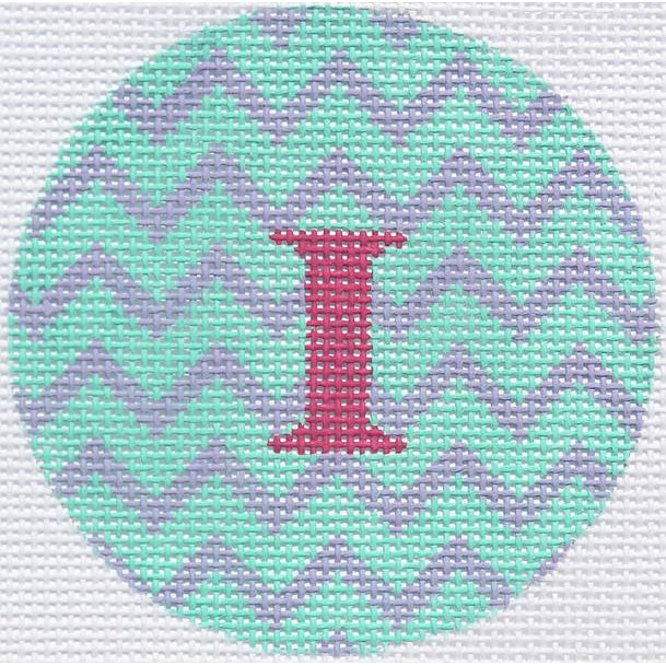"Green/Purple Zig Zag 3"" Round Canvas - needlepoint"