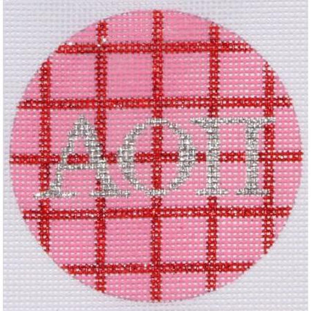"AOPi 3"" Round Canvas-Needlepoint Canvas-Kate Dickerson-18 mesh-AOPi-KC Needlepoint"