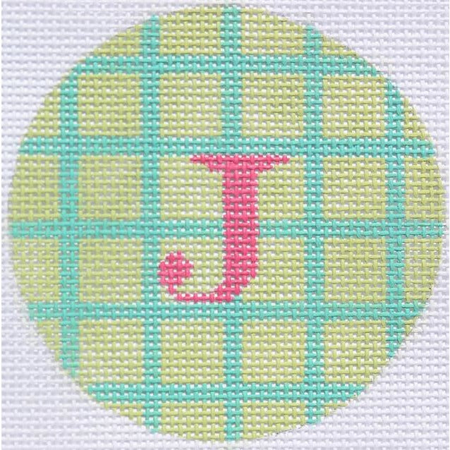 "Green & Blue Grid 3"" Round Canvas - needlepoint"