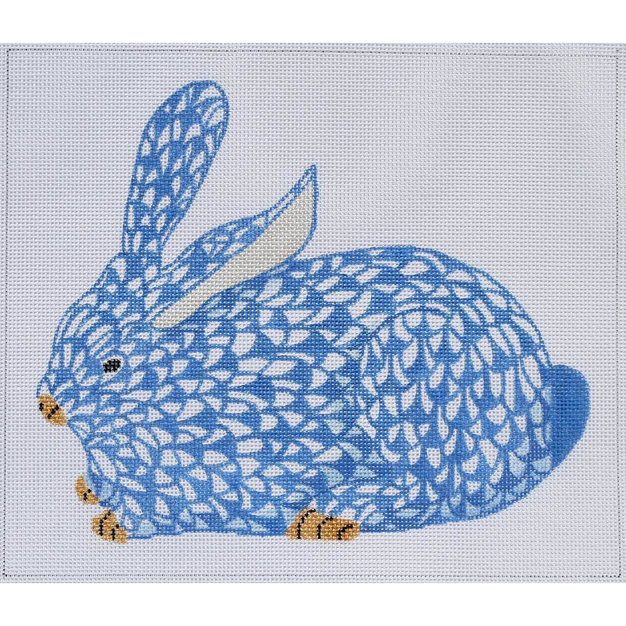 Herend Blue Bunny Needlepoint Ornament Canvas-Needlepoint Canvas-Kate Dickerson-18 mesh-KC Needlepoint