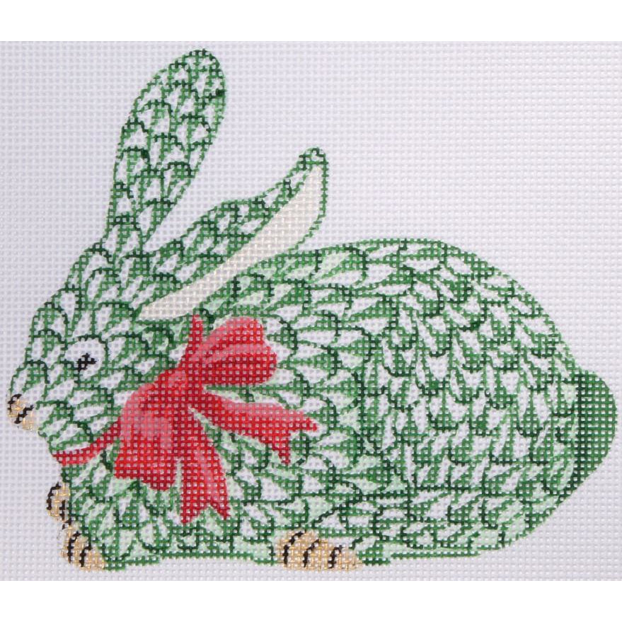 Herend Green Bunny with Bow Needlepoint Ornament Canvas-Needlepoint Canvas-Kate Dickerson-18 mesh-KC Needlepoint