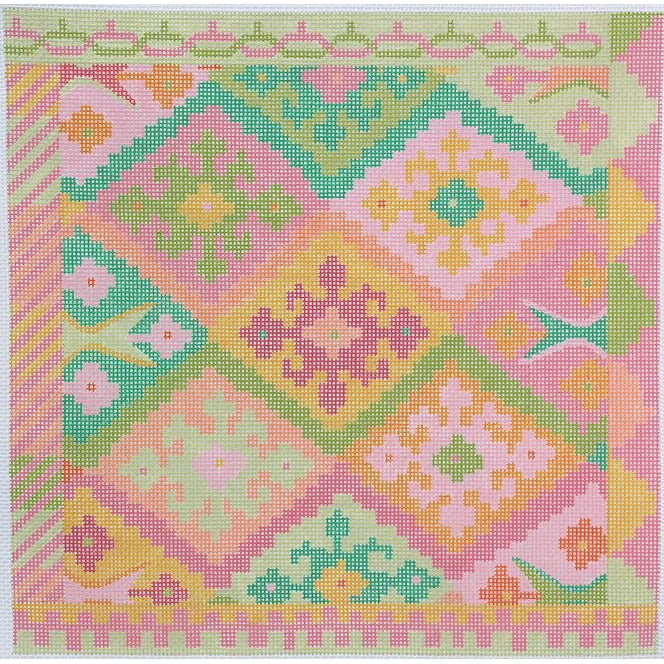 Kilim Square with Diamonds Canvas-Needlepoint Canvas-Kate Dickerson-KC Needlepoint