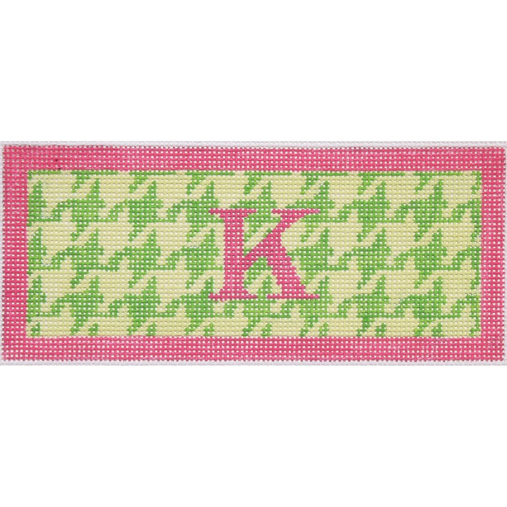 Pink & Green Houndstooth Jewelry Box Insert Canvas-Needlepoint Canvas-Kate Dickerson-18 mesh-KC Needlepoint