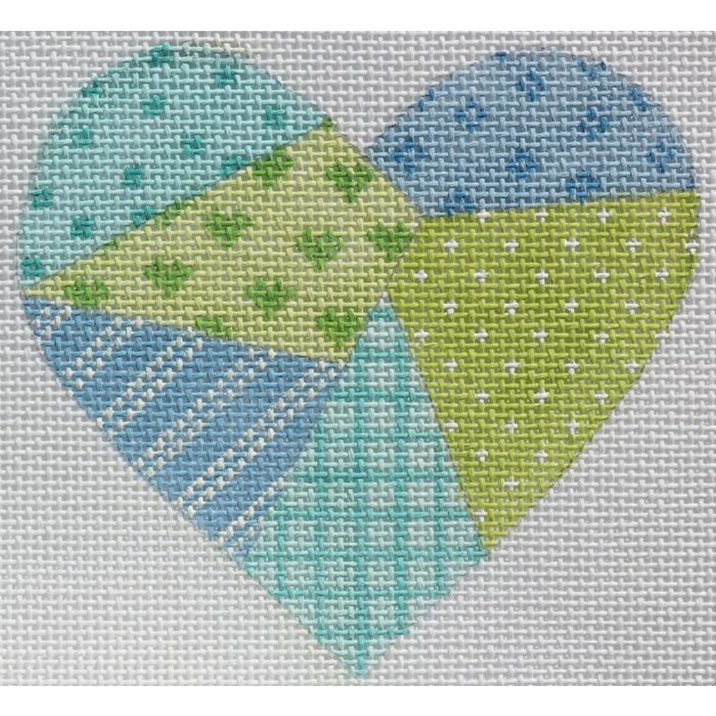 Green Patchwork Heart Canvas-Needlepoint Canvas-Kate Dickerson-18 mesh-KC Needlepoint