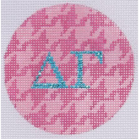 Delta Gamma Houndstooth Round Canvas - needlepoint