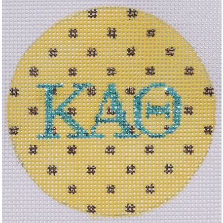 "Kappa Alpha Theta Polka Dot 3"" Round Canvas-Needlepoint Canvas-Kate Dickerson-18 mesh-KAT-KC Needlepoint"