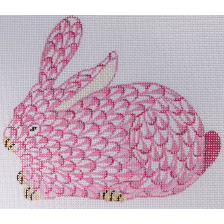 Herend Pink Bunny Needlepoint Ornament Canvas-Needlepoint Canvas-Kate Dickerson-KC Needlepoint