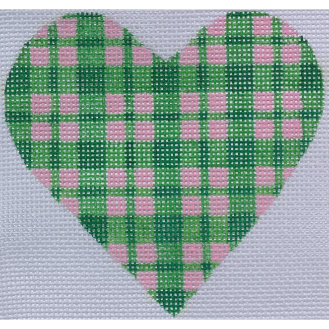 Pink and Green Plaid Heart Canvas-Needlepoint Canvas-Kate Dickerson-18 mesh-KC Needlepoint