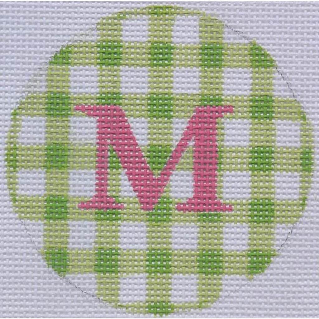 "Lime Gingham 3"" Round Canvas - needlepoint"