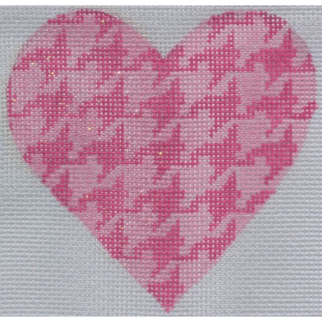 Pink Houndstooth Heart Canvas-Needlepoint Canvas-Kate Dickerson-18 mesh-KC Needlepoint