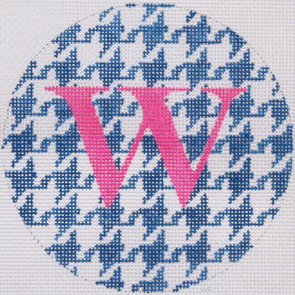 Blue/White Houndstooth Round Canvas - needlepoint
