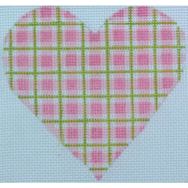 Pink Square Heart Canvas - needlepoint