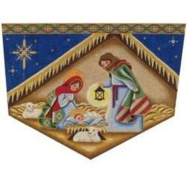 Nativity Christmas Stocking Topper-Needlepoint Canvas-Rebecca Wood Designs-13 mesh-KC Needlepoint