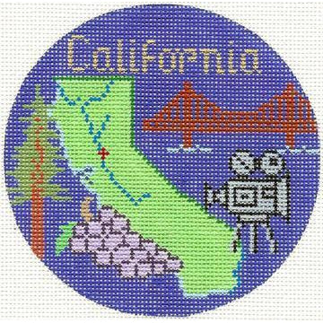 "California 4"" Travel Round Canvas-Needlepoint Canvas-Silver Needle-KC Needlepoint"