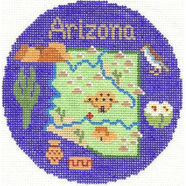 "Arizona 4"" Travel Round Needlepoint Canvas-Silver Needle-KC Needlepoint"