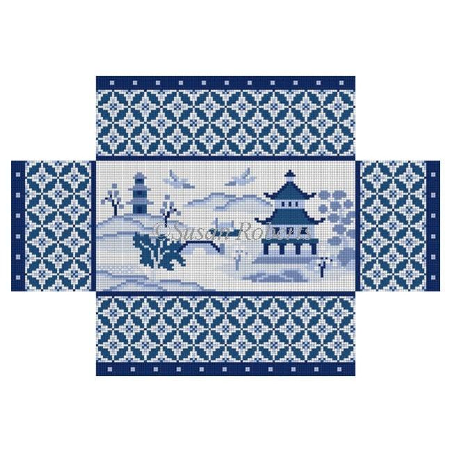Oriental Scene Brick Cover-Needlepoint Canvas-Susan Roberts-KC Needlepoint