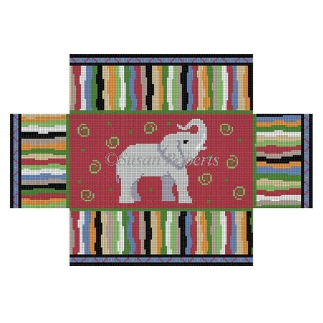 Elephant Brick Cover Canvas-Needlepoint Canvas-Susan Roberts-KC Needlepoint