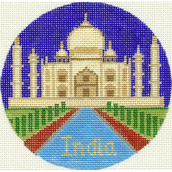 "India 4 1/4"" Travel Round Needlepoint Canvas-Needlepoint Canvas-Silver Needle-KC Needlepoint"