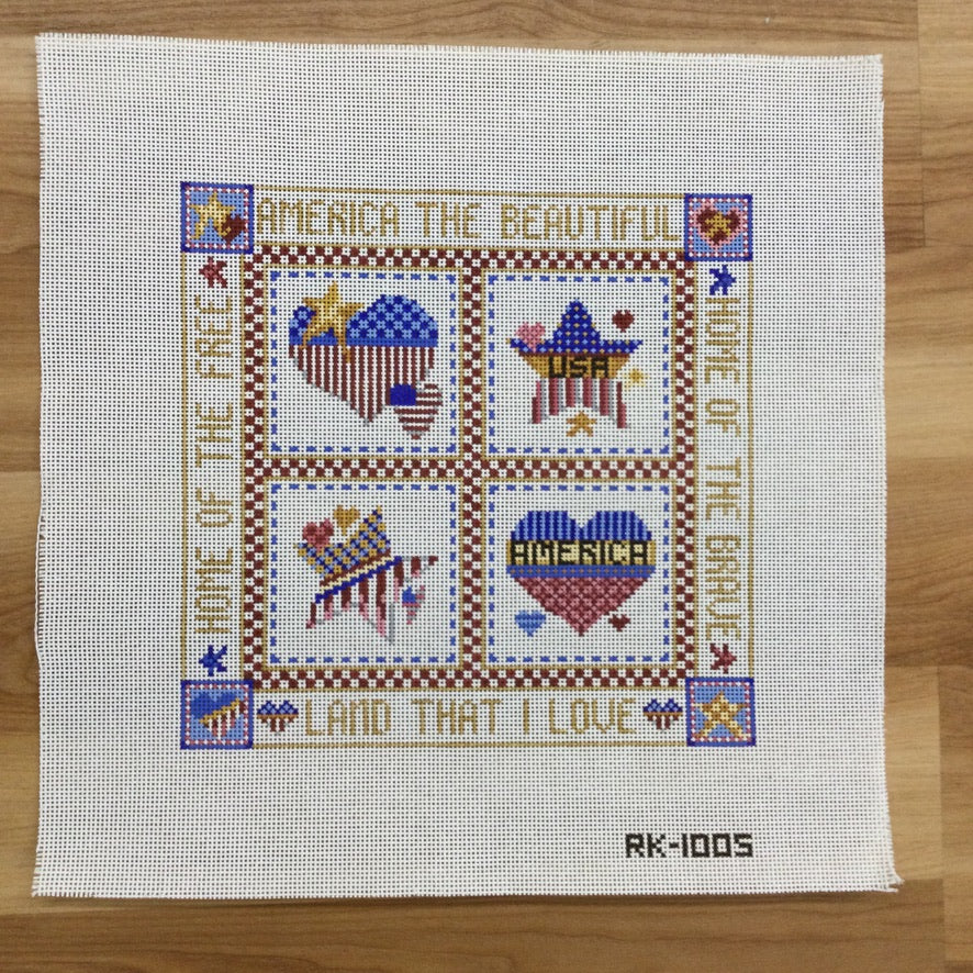 Patriotic Pillow Canvas - needlepoint