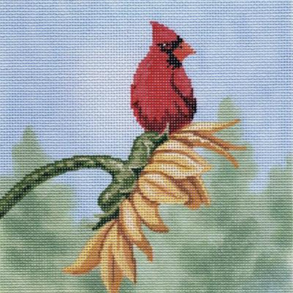 Cardinal on Sunflower Canvas - needlepoint