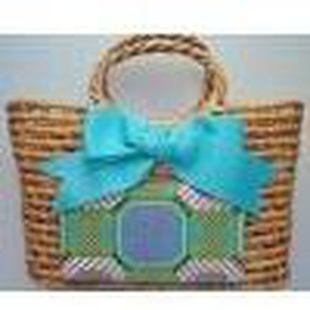 Straw Bag with Bow - needlepoint