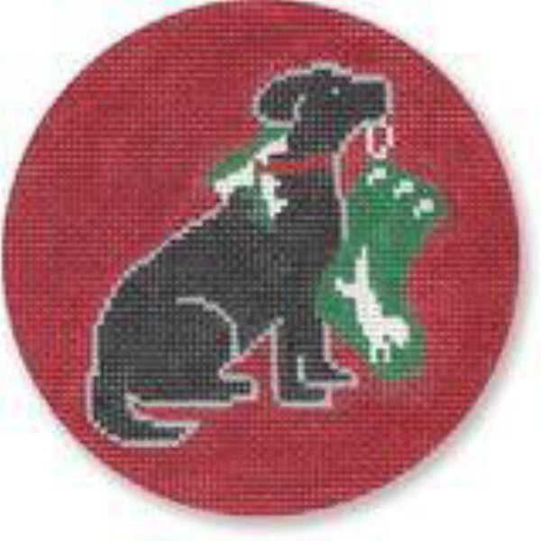 Black Lab with Stocking Ornament Canvas - needlepoint
