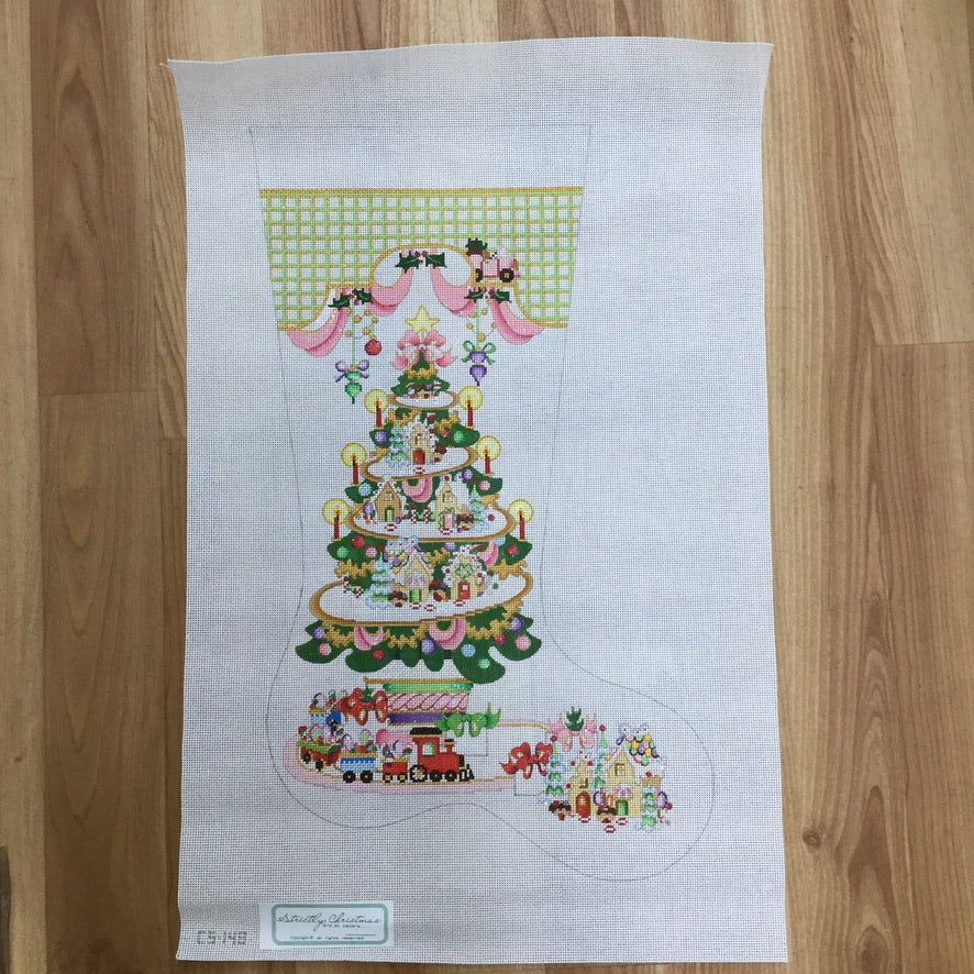 Gingerbread House Tree Stocking Canvas-Needlepoint Canvas-KC Needlepoint