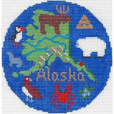 "Alaska 4"" Travel Round Needlepoint Canvas-Silver Needle-KC Needlepoint"