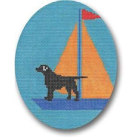 Lab on Yellow Sailboat Canvas-Needlepoint Canvas-CBK Needlepoint-KC Needlepoint