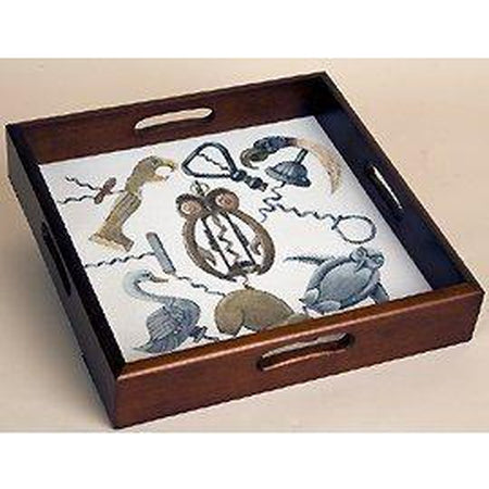 Square Wood Tray-Accessories-Sudberry House-Mahogany-KC Needlepoint