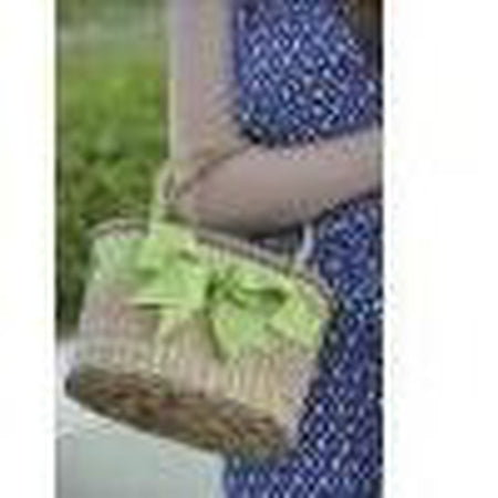Woven Straw Bag with Bow - needlepoint