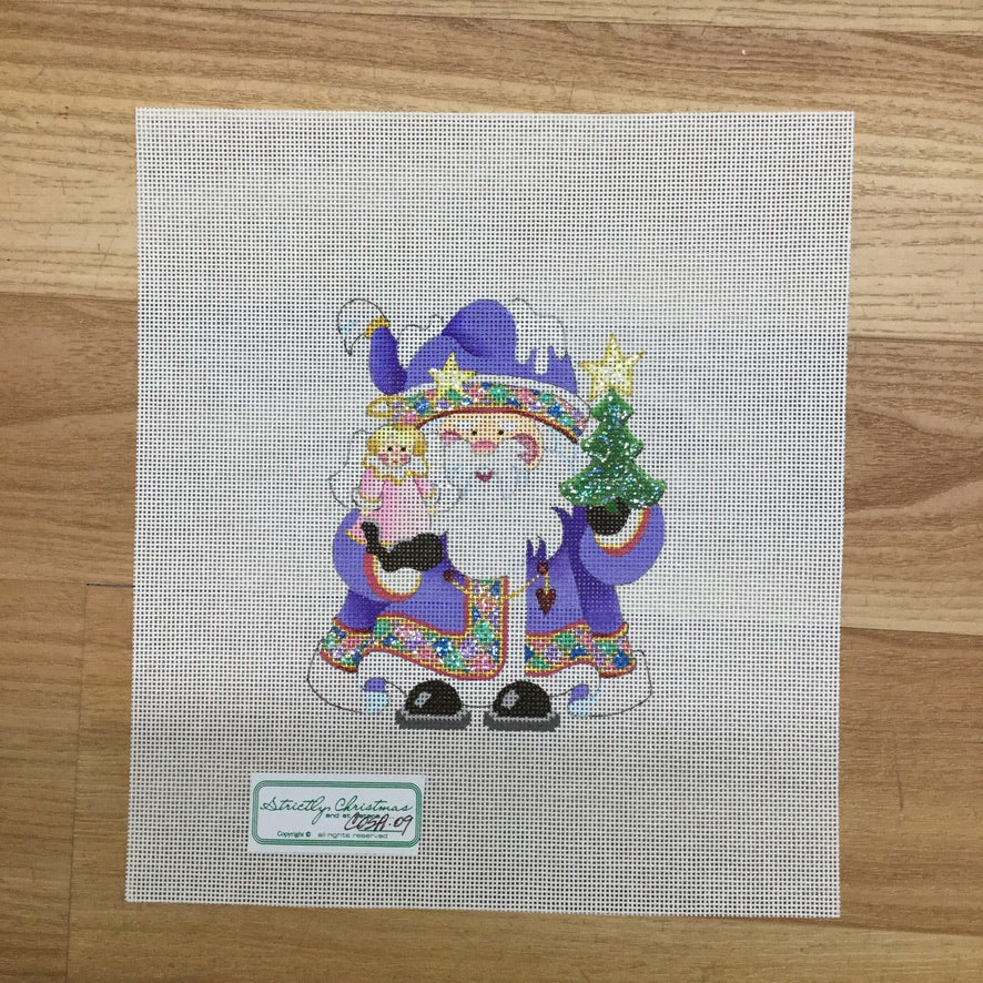 Angel Squatty Santa Canvas-Needlepoint Canvas-Strictly Christmas-KC Needlepoint