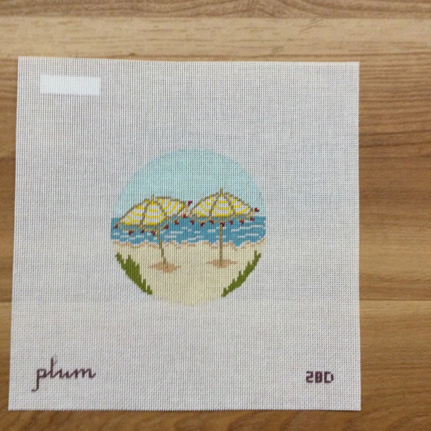 Beach Umbrellas Round Canvas