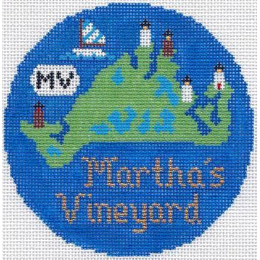 "Martha's Vineyard 4 1/4"" Travel Round Needlepoint Canvas-Needlepoint Canvas-Silver Needle-KC Needlepoint"